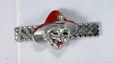& Red Enamel Men's Tie Clip Nos Vintage Fireman Fire Hat Fire Man Silver Tone