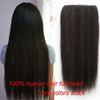 110g Half Head 5Clips One Hairpiece Clip In Real Human Hair Extensions 16''~26''