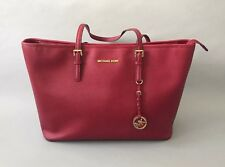 MICHALE KORS Red Leather Jet Set Travel Tote Bag Top Zip Multi Functional Tote