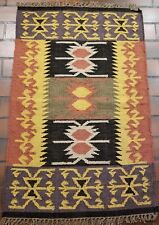 COLLECTIBLE WOOL HAND WOVEN IMPORTED TURKISH 2.4X3.8FT KILIM RUG K113