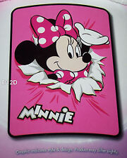 Disney Minnie Mouse Pink Printed Coral Fleece Blanket 163cm x 228cm New