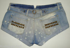 "GORGEOUS SASS&BIDE DISTRESSED BLUE WASH DENIM SHORTS - 28 ""EMBROIDERED WING"""