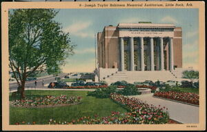 LITTLE ROCK AR Postcard Joseph Taylor Robinson Memorial Auditorium Vintage Linen