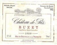 Étiquette de vin - Wine Label - Château de Piis - BUZET - 1989    (109)