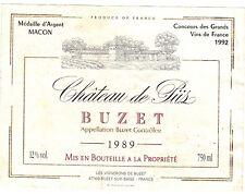 Etiquette de vin - Wine Label - Château de Piis - BUZET - 1989