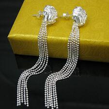 925Sterling Silver Fashion Jewelry Rose Flower Tassel Woman Earrings EY048