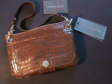 DONALD J PLINER tan teak real gator calf leather wallet shoulder bag purse NWT