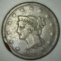 1839 Coronet Large Cent US Copper Type Coin Newcomb Variety N8 Fine Penny m2