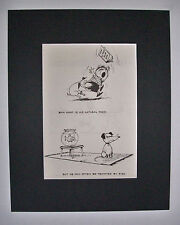 Dog Cartoon Print Norman Thelwell Feed Natural Food Bookplate 1964 8x10 Matted