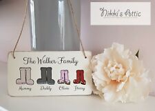 Personalised Family Names,Welly Boot Plaque,Sign,Wooden, Handmade, Gift, Home
