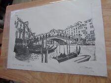 PRINT OF VENICE WATERWAY  RIALTO BRIDGE LIMITED EDITION  ARTIST CONRAD 2004