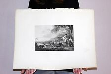"Large Original Albert Cuyp Steel Engraved Print ""EVENING A COMPOSITION"" 1832"