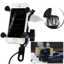 "3.5-6.5"" Phone GPS Handlebar Holder Mount X Style F Motorcycle Bike USB Charger"