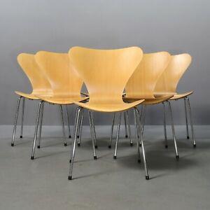 6x Stuhl 3107 Arne Jacobsen, Fritz Hansen Buche Serie 7 Chair, Siebener Chaise