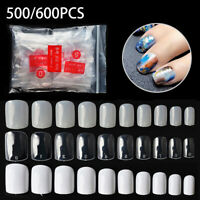 500 /600Pcs Fake Nails Short Nail Salon Full Cover False French Manicure Set