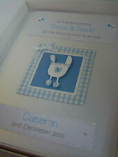 Luxury Personalised New Baby Boy Card, with Swarovski crystals, boxed