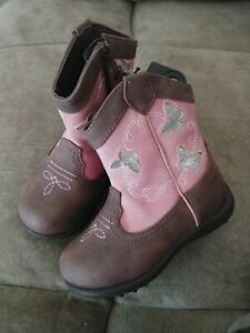 New Wonder Nation Infant Toddler Girls 4 Brown Pink Butterfly Cowboy Boots