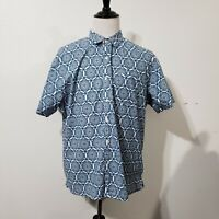 Old Navy XXL White Blue Slim Fit Circle Mosaic Short Sleeve Button Front Shirt