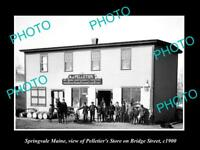 OLD LARGE HISTORIC PHOTO OF SPRINGVALE MAINE, THE PELLETIER GENERAL STORE c1900