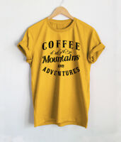 Coffee Mountains Adventures T-Shirt Mens Retro Holiday Shirts Gift Funny Tees
