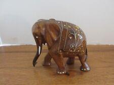 DECORATIVE ELEPHANT HAND CARVED WOOD BONE INLAY VINTAGE ESTATE GREAT WORKMANSHIP