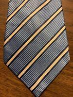 E12 Donald Trump Signature Collection Men's Tie 100% Silk Blue White Stripe EUC