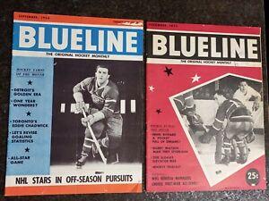 Lot of 2 Blueline Magazines: Sep 1956 Maurice Richard & Dec 1955 Jacques Plante