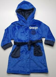 Personalised boys fleece football dressing gown in 3 colours embroidered name