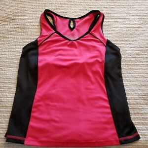 Tek Gear Size L Women's Racerback Activewear Running Yoga Tank Top Pink & Black