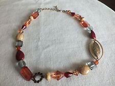 """Green Beads 16-18"""" Long Nice Beautiful Necklace Gold Tone Burgundy Beige"""