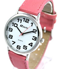 Ravel Ladies Bold BIG Number Watch with BIG Face and Extra LONG Pink Strap