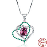 2.7CT Spessartine Garnet Gemstone100% 925 Sterling Silver Pendant Chain Necklace