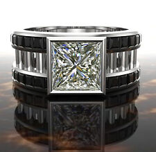3.25ct Brilliant Princess Near White Moissanite Diamond Men's Ring 14K Gold