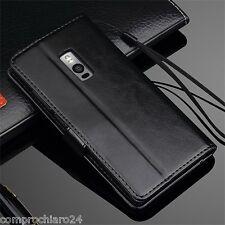 Custodia a Portafoglio in Pelle Nera per OnePlus 2 - Leather FLIP Cover