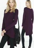 EXPRESS XS S M or L PURPLE Ribbed Asymmetrical Hi-Lo Hem Tunic Sweater small