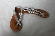 Ladies Silver Toe Post Sandals Size 37 UK 4 Atmosphere Shoes