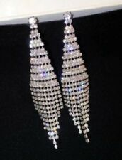 14k White Gold Dangle Chandelier Earrings made w Swarovski Crystal Pave Stone