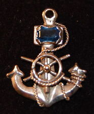 14KYG Vintage Anchor Charm with Sapphire