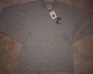 St Louis Blues Long Sleeve T-shirt  Medium Embroidered Logo Gray New NHL