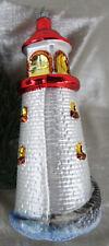 großer Leuchtturm bunt nostalgischer Christbaumschmuck 15cm, Lauscha, Handarbeit