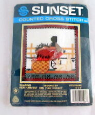 Cross Stitch Kit Sharing her Harvest 1986 Sealed Wool 5 x 5 Sunset Vintage