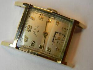 VINTAGE 1950 LORD ELGIN 21J 626 MENS 14K GOLD FILLED WATCH - NICE CASE - REPAIR