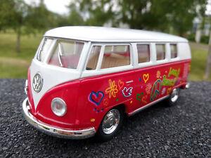 VW bus combi Volkswagen T1 love & peace 13cm rouge clair neuf
