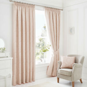 """Laurent Pastel Pink Lined Pencil Pleat Curtains Incl Tie backs. 66x72"""" or 66x90"""""""