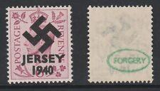GB Jersey (274) 1940 Swastika Overprint forgey om genuine 6d stamp unmounted