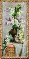 CECILE DESLIENS (1853-1937) HUGE SIGNED FRENCH OIL - STILL LIFE FLOWERS & EGGS