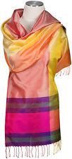 Seidenschal 100% Seide, Silk ècharpe foulard silk soie scarf stole Fransen Pink