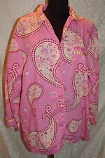 Delicates Woman Plus 1X Button Front Top Blouse Pink Yellow Paisley Shirt