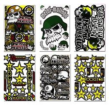 6 Cool Motocross Metal Mulisha Rockstar Energy Vinyl Decals Stickers Sheets Set