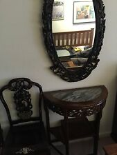 Antique Chinese semicircular table mirror and 2 chairs-marble&mother of pearl in